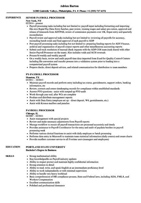 Payroll Processor Sle Resume by Payroll Processor Resume Sles Velvet