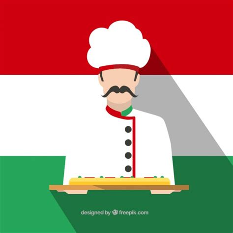 free italiano italian chef with a pizza vector free