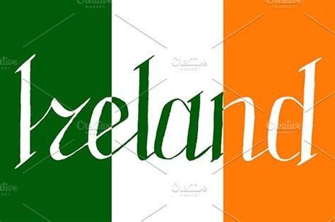 ireland colors ireland word flag lettering vector graphic objects