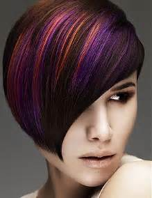 colored highlights purple and orange highlights hair colors ideas