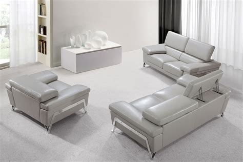 home encore modern grey leather sofa set