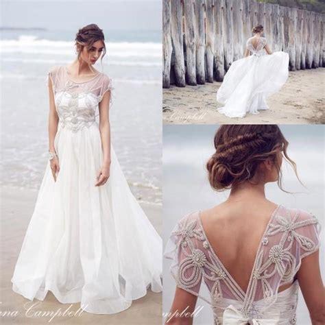 anna cbell inspired beach wedding dresses sleeves 2015 vintage 2016 anna cbell new sheer cap sleeves organza a line