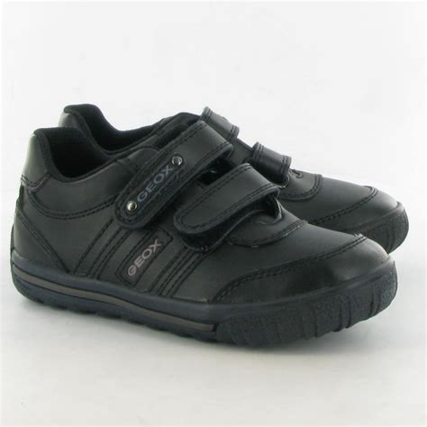 geox leather atlante velcro shoes in black