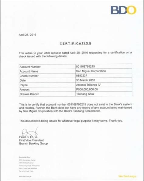bank certification letter bpi p500 m check for sen trillanes is says san miguel
