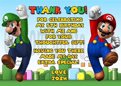 printable mario thank you cards personalized super mario brothers thank you card digital