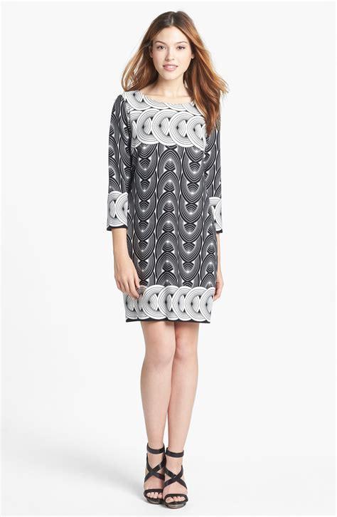 ponte knit dress dresses print ponte knit shift dress in black