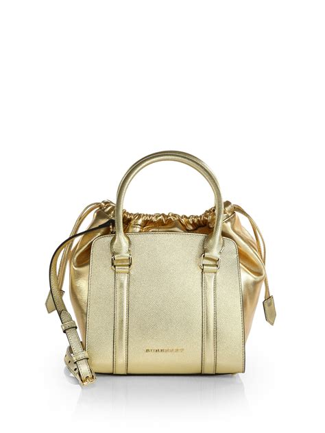 Burberry Gold burberry metallic leather tote in gold light gold lyst