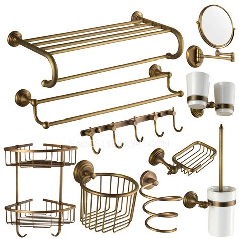10 antique brass european style bathroom accessory sets