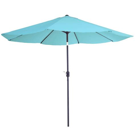 Blue Patio Umbrella Garden 10 Ft Aluminum Patio Umbrella With Auto Tilt In Blue M150002 The Home Depot