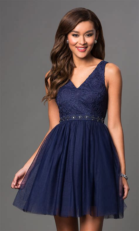short  neck lace top party dress promgirl