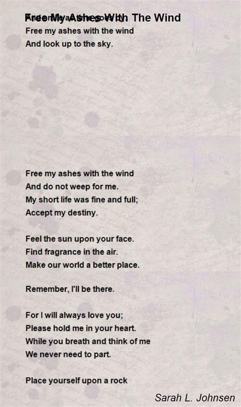 free my ashes with the wind poem by l johnsen