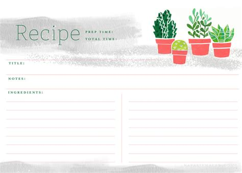 5 x 7 recipe card template free recipe cards printable 5x7 succulent natalie malan