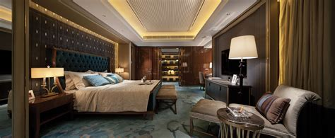 opulent blue  brown bedroom panorama interior design ideas