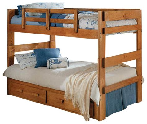 Split Bunk Beds Chelsea Home Split Bunk Bed With Bed Storage In Honey Traditional Bunk