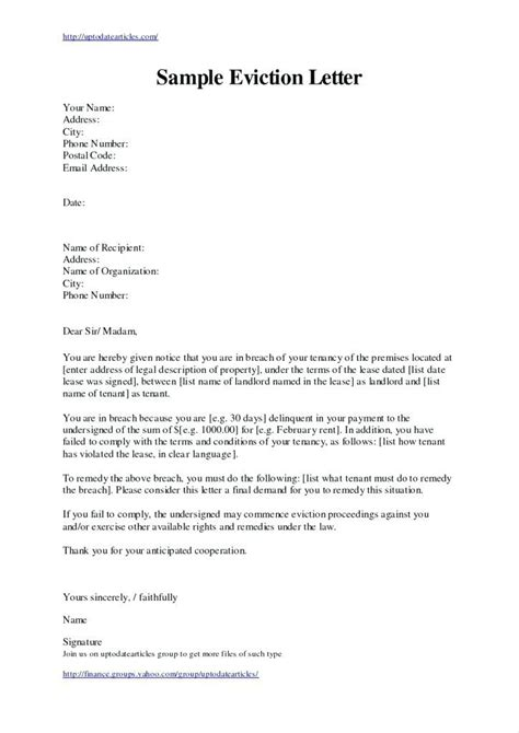 eviction notice letter template south africa landlord