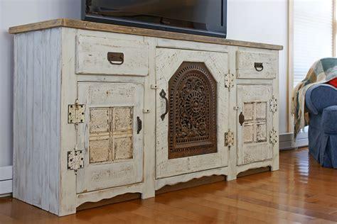 handmade katama media entertainment console antique whitewash by demolition revival furniture