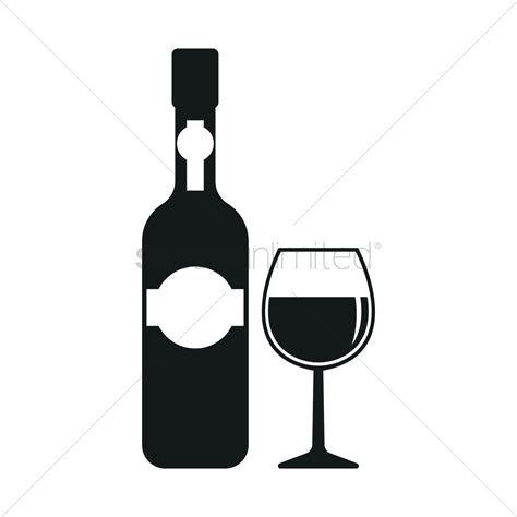 wine silhouette wine bottle and cup silhouette vector image 1900445