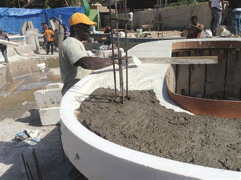 concrete bar top forms tiki bar is open complete with cascading waterfalls and a spa in a glass concrete