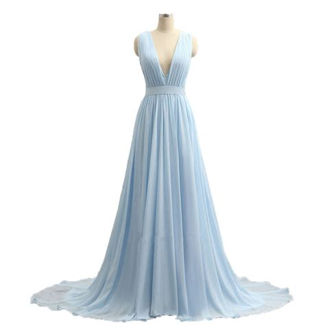Imported Slimca Dress 3 sky blue v neck prom dresses 2017 imported dress a line chiffon formal evening gowns