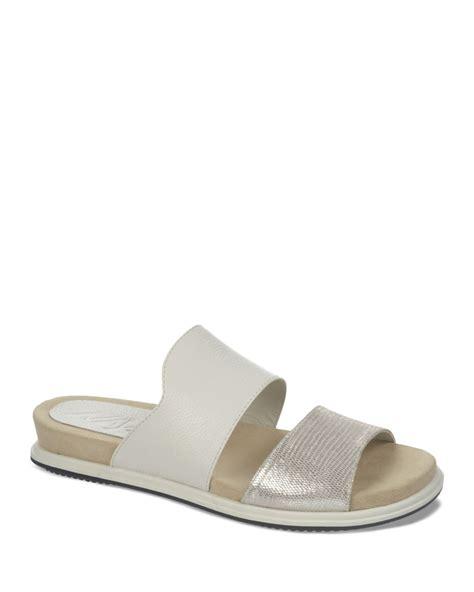 white sandals flat naya open toe flat slide sandals korthay in white lyst