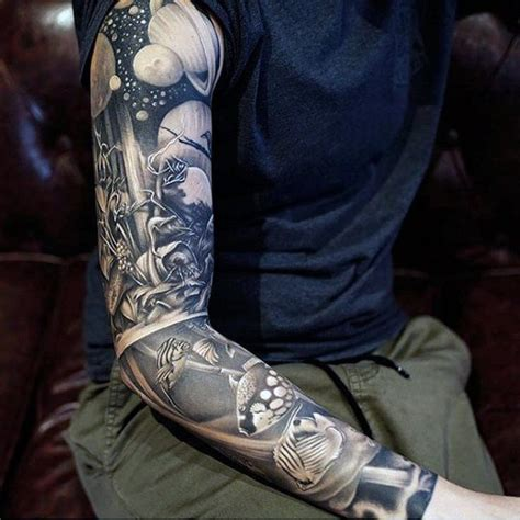 space tattoo black and grey 75 crazy tattoos for men bold design ideas