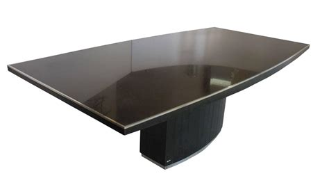 Rare Black Granite And Stainless Steel Dining Table By Black Granite Dining Table