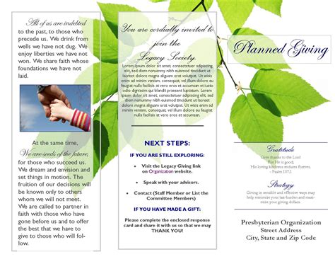 planned giving brochures templates library brochure templates 8 best agenda templates