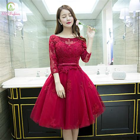Dress Fashion Flower 4 2016 new fashion wine lace flower 3 4 sleeves a line cocktail dress the
