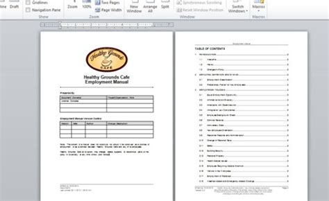 Employment Handbook Template For Word Employee Manual Template