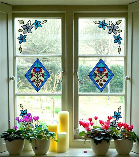 stained glass stickers for doors stained glass cling window stickers set 2 diamonds and 4
