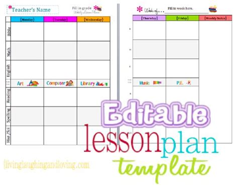 free editable lesson plan template teacher binder