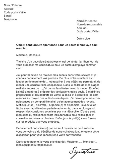Conseil Lettre De Motivation Commercial Lettre De Motivation Employ 233 Commercial Mod 232 Le De Lettre