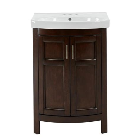 24 in bathroom vanity with sink shop style selections morecott chocolate integral single