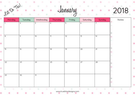 monthly printable calendar lets true