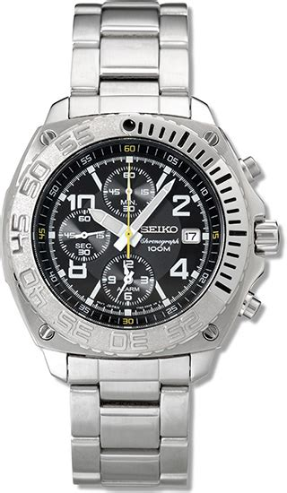 Seiko Spc089p2 Sportura Barcelona Black Silver Blue seiko sna617 mens stainless steel alarm chronograph