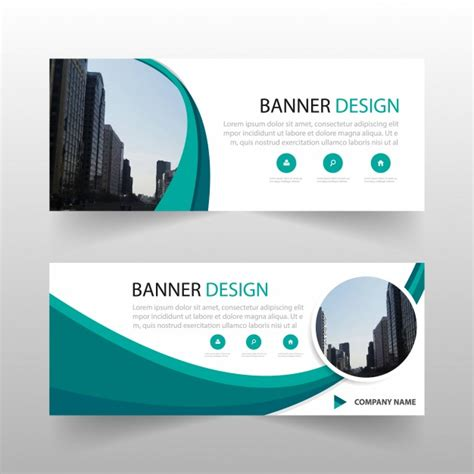 free banner layout design green circle abstract banner template design vector free
