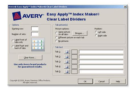 avery template 11436 avery index maker 30percent recycled clear label dividers