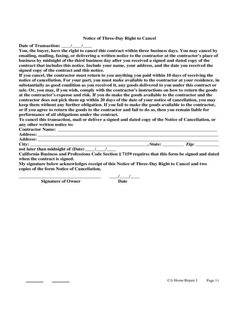 home improvement contract sle free