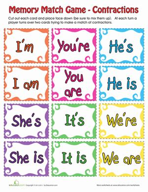 printable contraction games contraction matching game worksheet education com