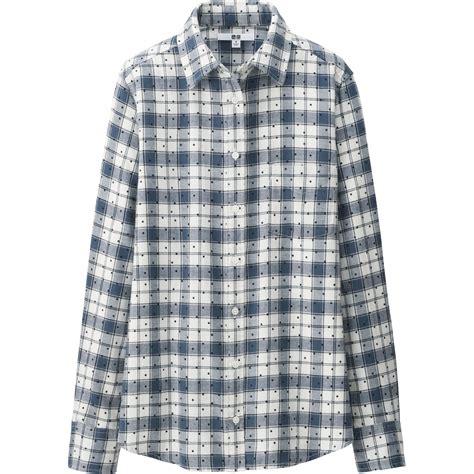 Flannel Uniqlo 11 uniqlo flannel print sleeve shirt in gray lyst
