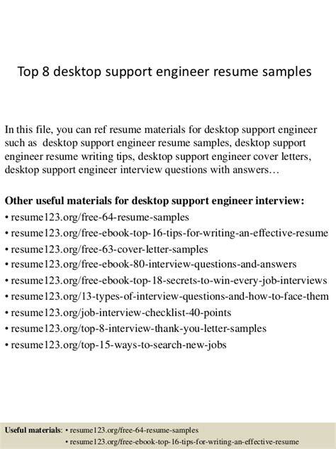 Desktop Support Engineer Resume Samples by Top 8 Desktop Support Engineer Resume Samples