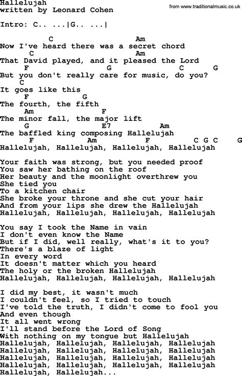 printable lyrics hallelujah leonard cohen song hallelujah lyrics and chords