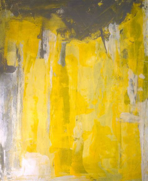 grey yellow acrylic abstract art painting grey yellow and white