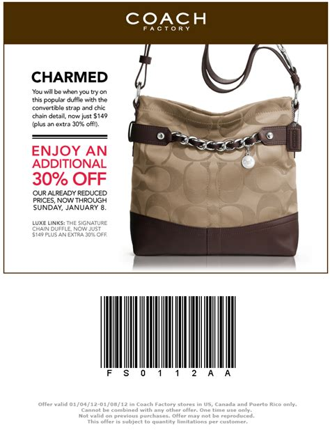 printable coupons for coach outlet coach outlet printable coupon thru 1 8 12