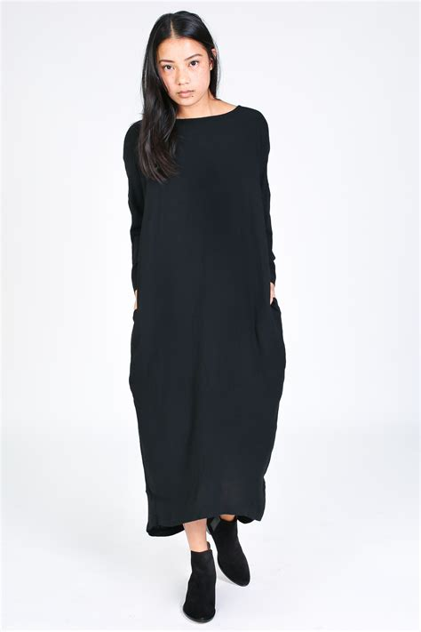 Pleated Dress 16091 Black black crane pleated cocoon dress in black garmentory