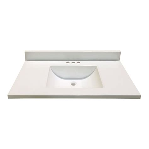 Woodnote Vanity Top by 37 Inch W X 22 Inch D White Cultured Marble Vanity Top