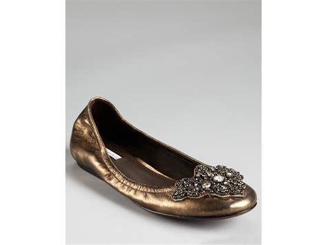 jeweled flats shoes vera wang lavender flats lorianna jeweled ballet in gold