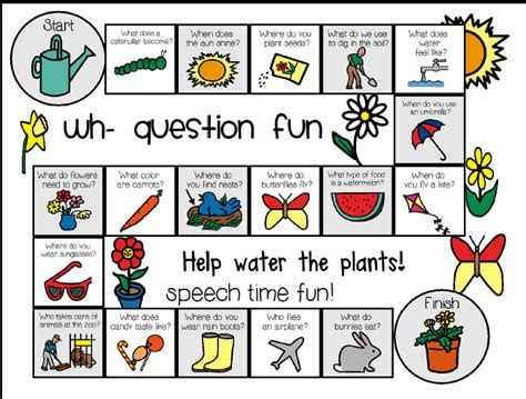 wh pattern words speechie freebies spring wh question board game