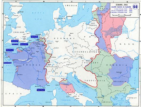 map of allied gains in europe 1944 library