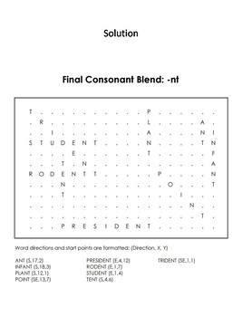 Final Consonant Blends Nt Word Search Ending Blends